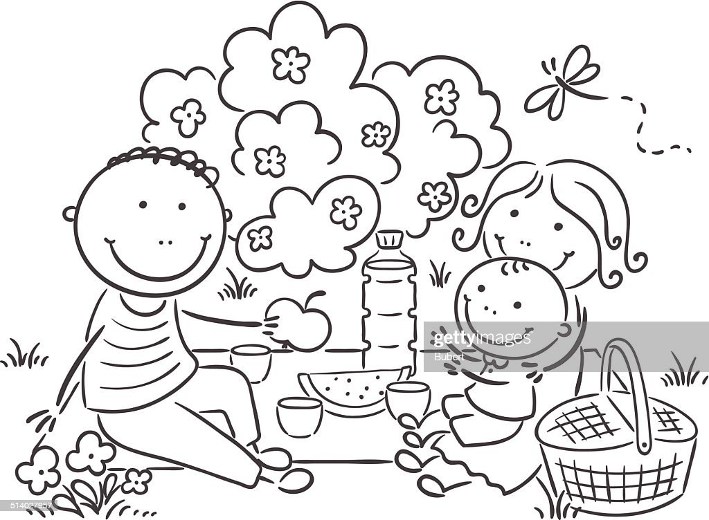Family having picnic outdoors vector art getty images for Picnic scene coloring page