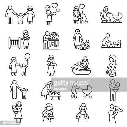 Family, icons set. Editable stroke : stock vector