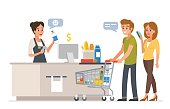 Retail woman cashier with barcode scanner and young couple with purchases. Family shopping in supermarket and paying with card. Vector illustration.