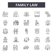 Family law line icons for web and mobile. Editable stroke signs. Family law  outline concept illustrations