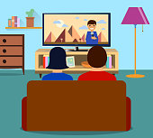 Family man and women watching TV daily news program together in the living room. Flat design, vector illustration EPS10