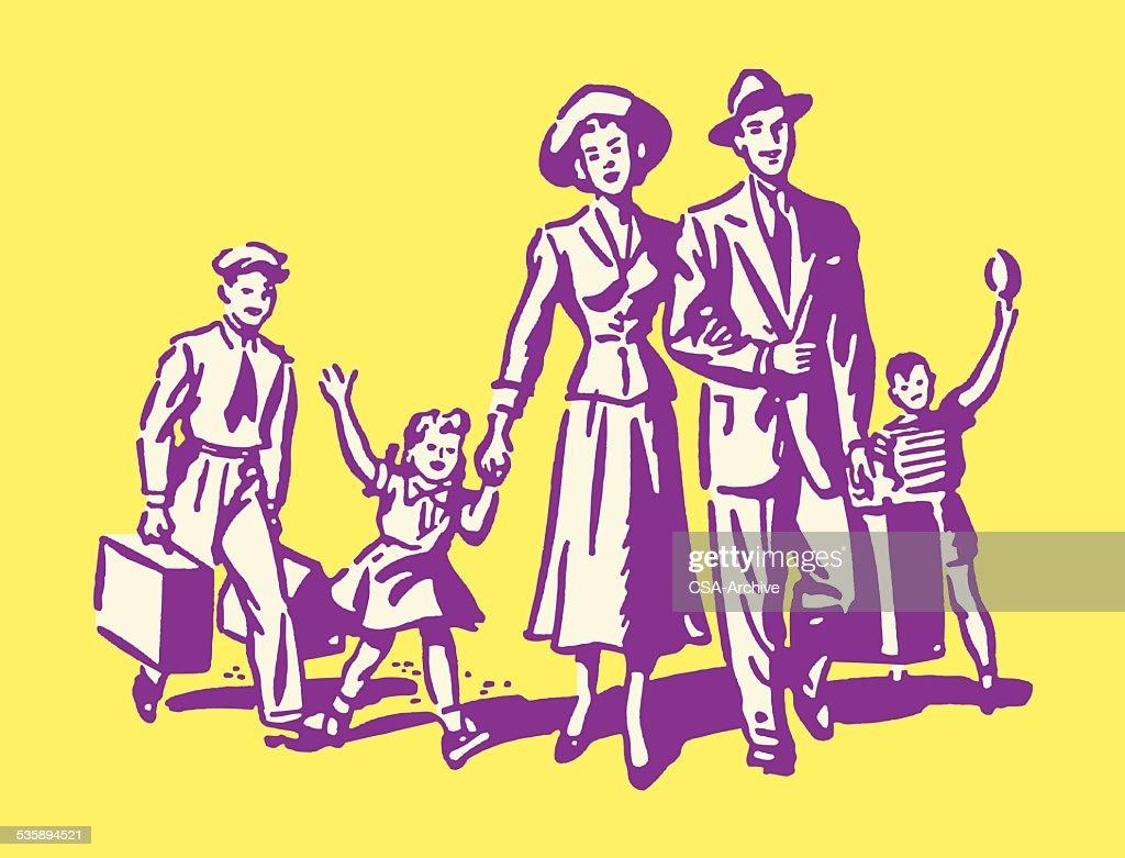 La famille de cinq sur vacances : Clipart vectoriel