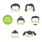 Family Of Geeks, various people in glasses, vector illustration