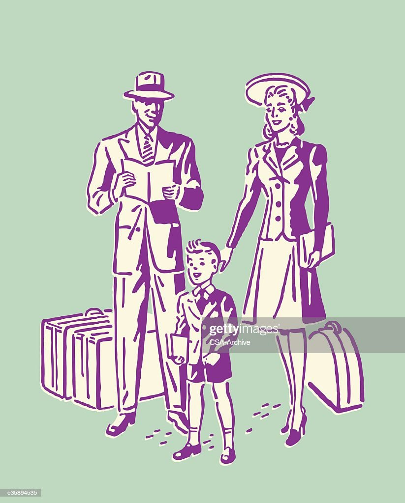 Family of three with Luggage : Vector Art
