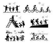 Stick figure pictogram depicts family in the park, riding bicycle together, playing at playground, hiking, outdoor bbq picnic, and enjoying themselves at beach.