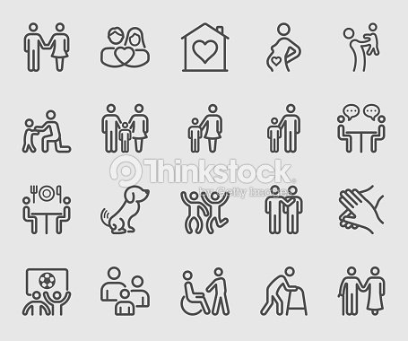 Family relation line icon : stock vector
