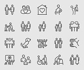 Family relation line icon