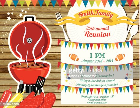 Family Reunion Bbq Invitation Template Vector Art | Getty Images