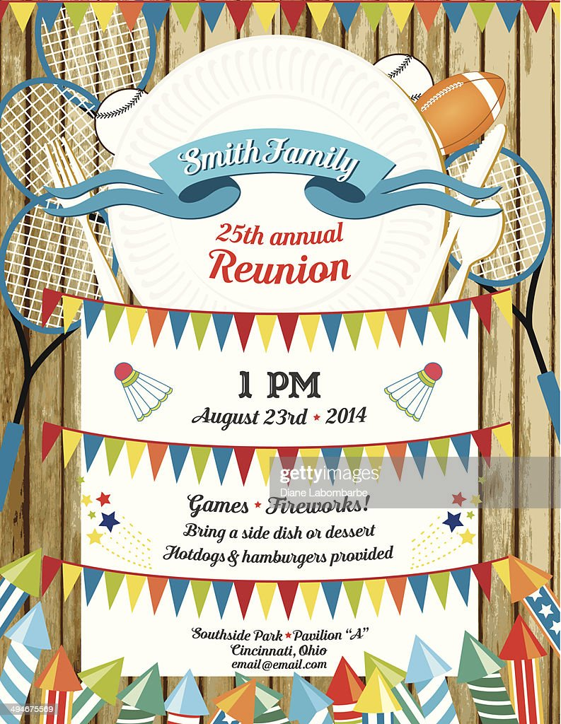 family reunion bbq invitation template vector art
