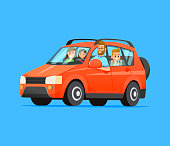 Family travel on a red car. Vector flat style illustration.
