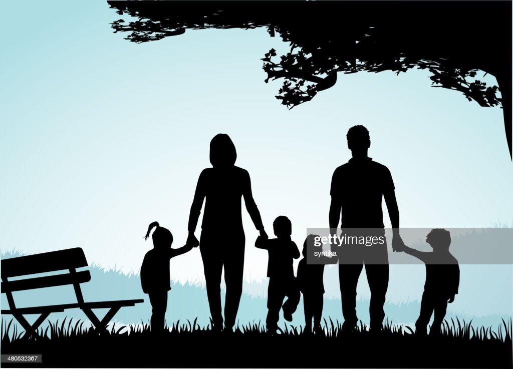 Familie Silhouetten-Abbildung : Vektorgrafik