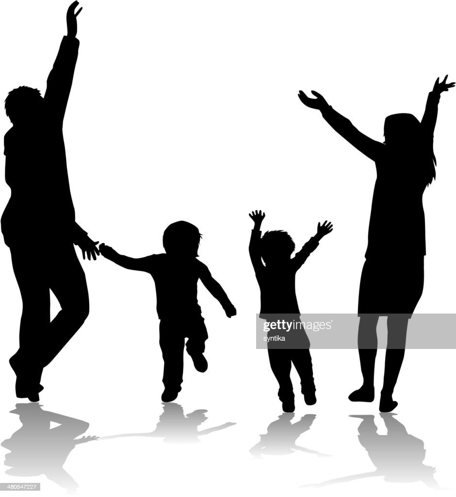 Silhuetas de família : Arte vetorial
