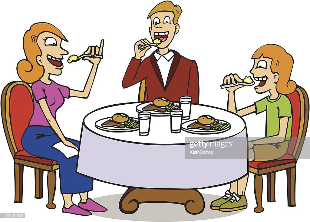Family sitting at dinner table eating food vector art for Eating table