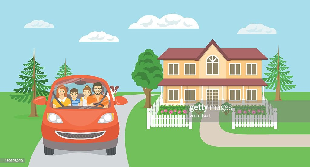 Family summer vacation trip background with house : Vector Art