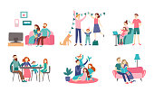 Family together at home. Young couple spend time with kids, read book and decorating house. Homeliness family eating healthy dinner together, generations meeting vector flat isolated icon illustration