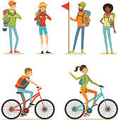 Family tourism. People hiking. Young people travelling. Cartoon illustration of camping. Hiking and vacation, tourism man character
