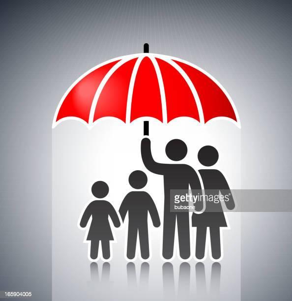 Familia bajo una sombrilla concepto Stick figuras