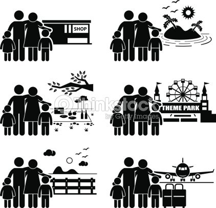 Family Vacation Trip Holiday Recreational Activities Vector Art