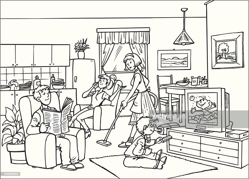Family vector art getty images for Living room outline