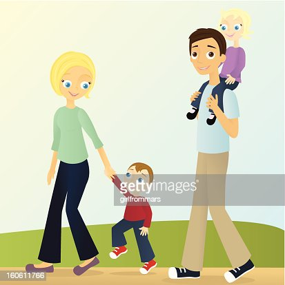 Family Walking : Vector Art