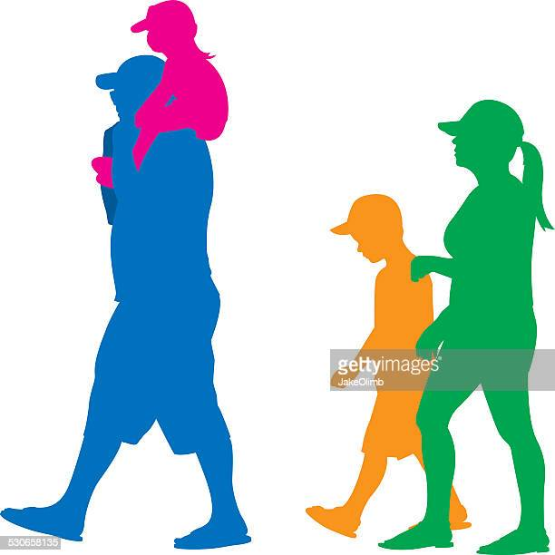 Family with Little Kids Silhouette