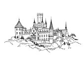 Famous Castle in Germany. Castle building with tower engraving landscape. Hand drawn sketch vector illustration.