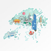 Famous Hongkong landmark on map for travel poster,Hongkong in paper art style.