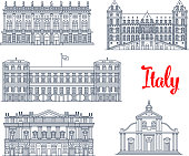 Italian architecture symbols and famous sightseeing buildings. Vector isolate icons and facades of Palazzo Madama palace, Castle of Valentino, Royal Palazzo Reale, La Skala opera theater and Turin cat