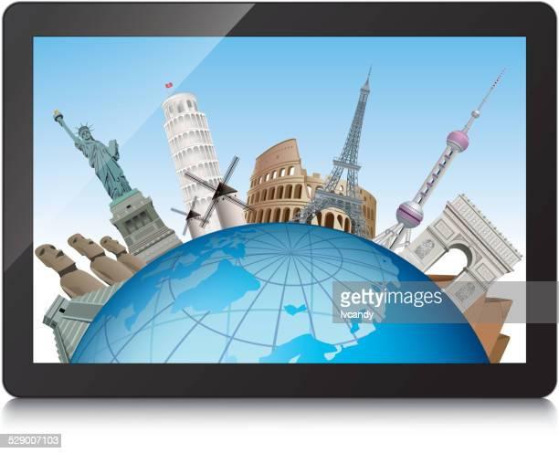 Famosas atracciones turísticas en tablet pc