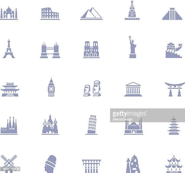 Famous Place Icon Set