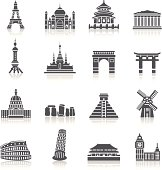 A collection of different kinds of famous scenic spots icons. It contains hi-res JPG, PDF and Illustrator 9 files.