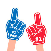 Fan foam finger. Blue and red sports item for hand to show a support for a team on championship game. Vector flat style cartoon illustration isolated on white background