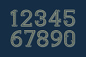 Fancy vector numbers in patterned retro style.
