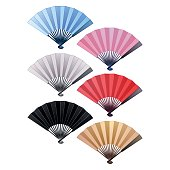 Vector set of fans in different colors. Asian traditional decorations
