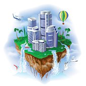 Fantastic island with waterfalls in the sky and the skyscrapers. Vector illustration.
