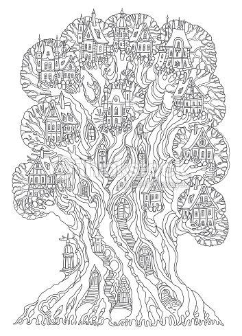 Fantasielandschaft Märchen Eiche Baum Mit Burg Mittelalterliche