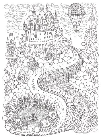 Fantasy landscape with air balloon fairy tale medieval castle on a fairy tale medieval castle on a hill round old street t shirt print album cover invitation card coloring book page for adults and children stopboris Image collections