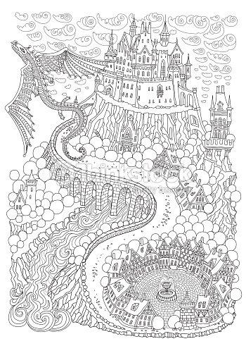 Paisaje De Fantasía Con Dragón Cuento De Hadas Medieval Castillo En ...