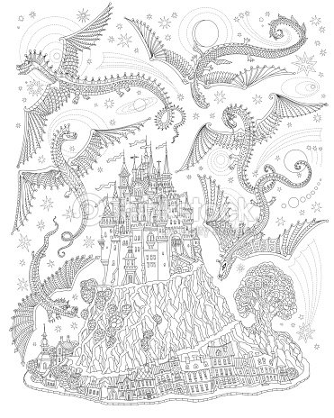 fantasielandschaft mit fliegenden drachen in den himmel märchen mittelalterlichen burg auf einem