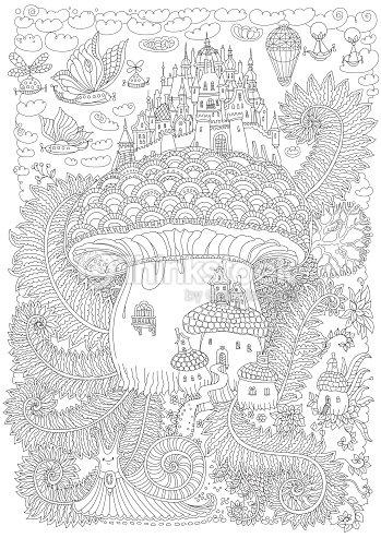 Paisaje De Vector De Fantasía Castillo Medieval De Cuento De Hadas ...