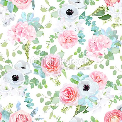 Fantasy wedding mix of flowers and plants seamless print