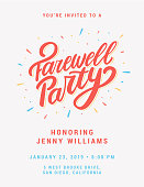 Farewell party invitation. Vector hand drawn illustration.