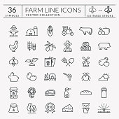 Farming and agriculture line icon set. Vector isolated farm and countryside outline symbols: cereal crop, fruit, vegetables, dairy products, fresh meal, animals, plants, equipment. Editable stroke.