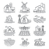 Farm and farming fields linear vector icons isolated on white background. Farming and agriculture life concept. Harvester tractors and village buildings. Thin black line style.