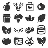 Farm and Organic Food Icons Set. Vector illustration