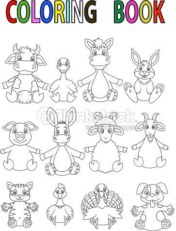 Libro Para Colorear Con Animales De Granja Dibujos Animados Arte ...