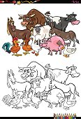 Cartoon Illustration of Farm Animal Characters Group Coloring Book Activity