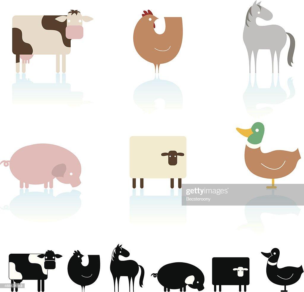 farm animal icon set vector art getty images