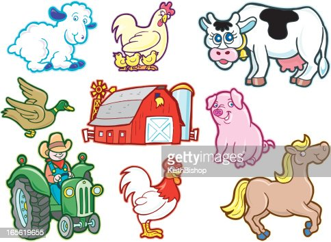Farm Animals Barn And Tractor Cartoons Vector Art | Getty ...
