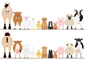 farm animals border set, front view and rear view.